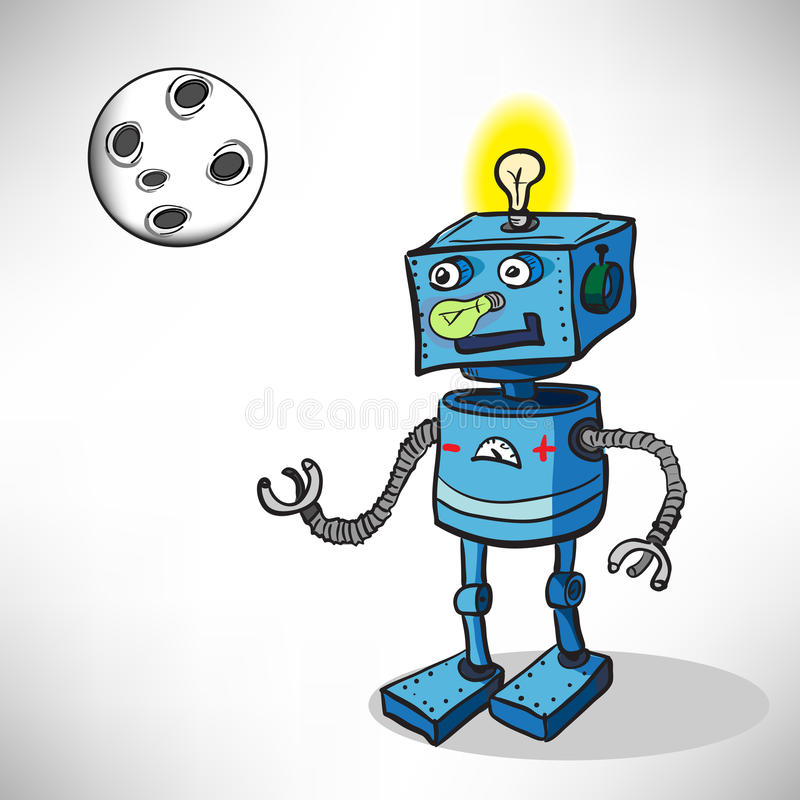 Робот шаржа в космосе иллюстрация штока