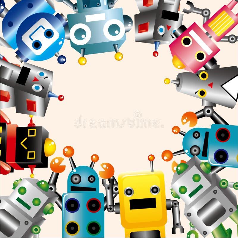 робот шаржа карточки бесплатная иллюстрация