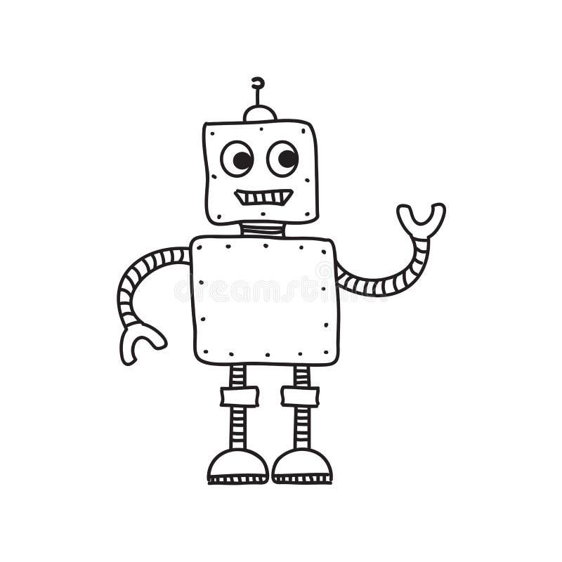 Робот шаржа, рука нарисованная иллюстрация вектора, doodle бесплатная иллюстрация
