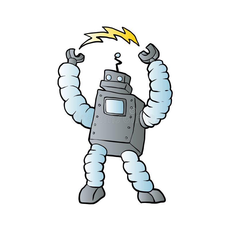 Робот шаржа eletric иллюстрация вектора