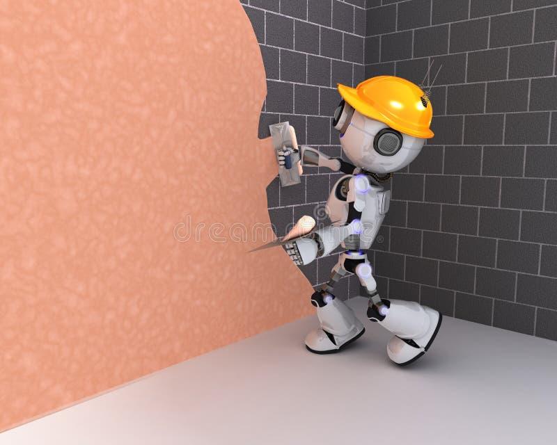 Робот штукатуря стена иллюстрация штока