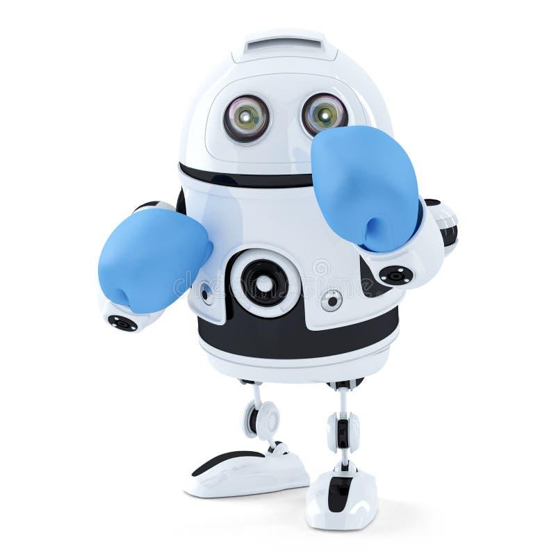 робот 3d в перчатках бокса изолировано Содержит путь клиппирования иллюстрация вектора