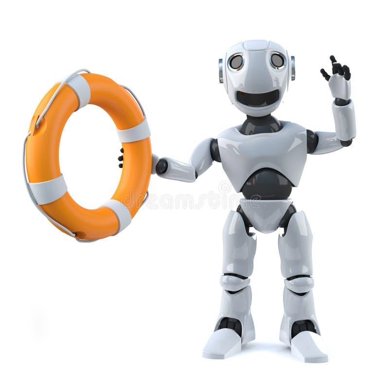 робот 3d держа кольцо жизни иллюстрация штока