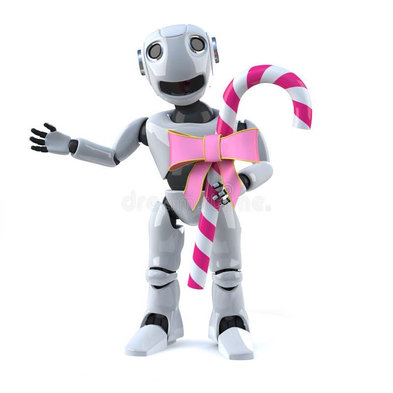 робот 3d имеет конфету иллюстрация штока