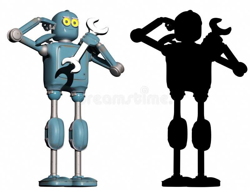 Робот Grunge винтажный отвечает к требованию поддержки техника бесплатная иллюстрация