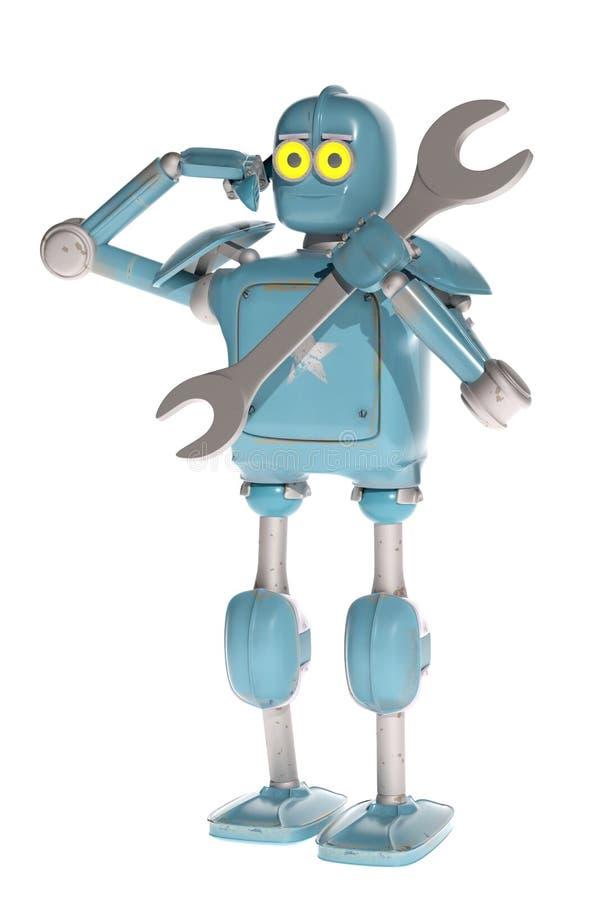 Робот Grunge винтажный отвечает к требованию поддержки техника иллюстрация штока