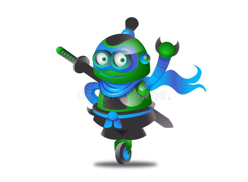 Робот ninja шаржа иллюстрация вектора