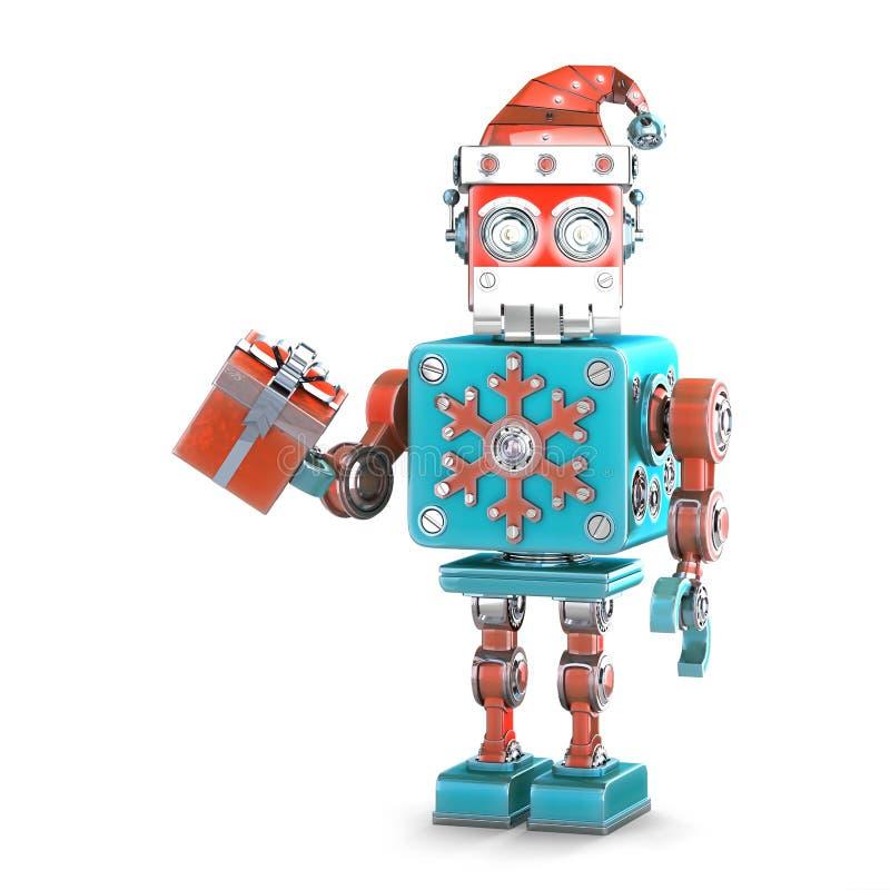 Робот santa с подарочной коробкой изолировано Содержит путь клиппирования иллюстрация штока