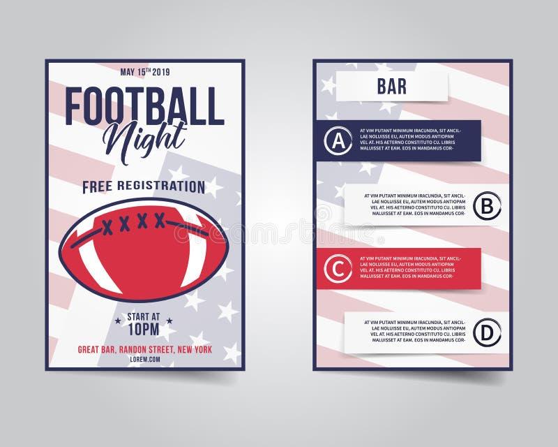 Рогулька американского футбола План ночи партии спорт, брошюра Современный профессиональный плакат Приглашение события игры рэгби иллюстрация штока