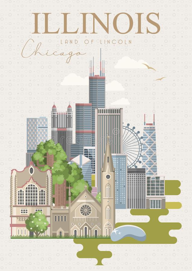 Рогулька вектора Иллинойса chicago земля lincoln Штат США положения америки соединили иллюстрация штока