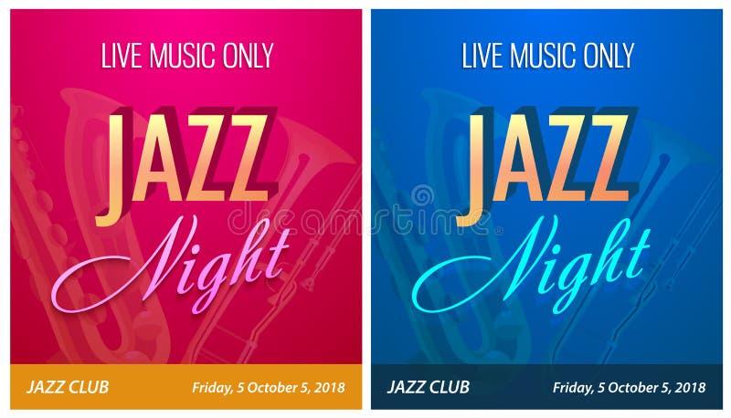 Рогулька для партии ночи джаза - Vector шаблон знамени для события концерта танцевальной музыки в современном современном красиво иллюстрация вектора