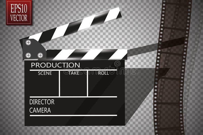 Рогулька или плакат фестиваля кино с вьюрком и нумератором с хлопушкой кино Иллюстрация вектора киноиндустрии Шаблон для бесплатная иллюстрация