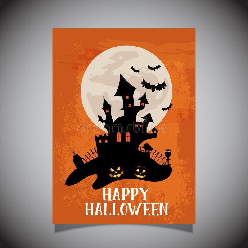 Рогулька хеллоуина с пугающим дизайном замка иллюстрация вектора