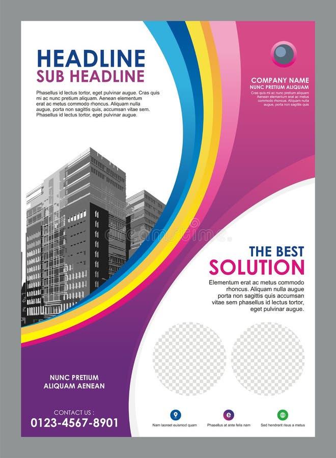 Рогулька - шаблон брошюры с стильным дизайном волны иллюстрация штока