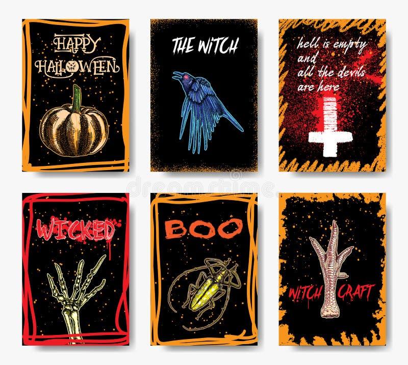 Рогульки приглашения хеллоуина или установленные поздравительные открытки нарисованные рукой Ve иллюстрация штока