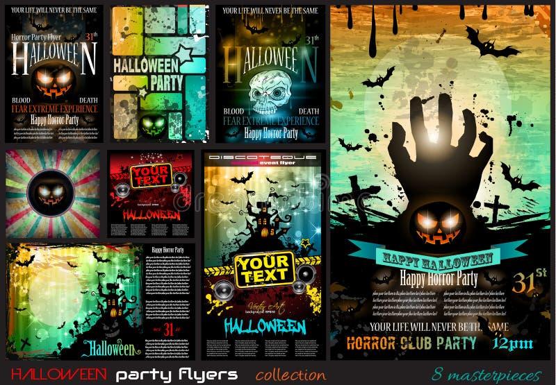 Рогулька партии хеллоуина с страшными красочными элементами иллюстрация штока