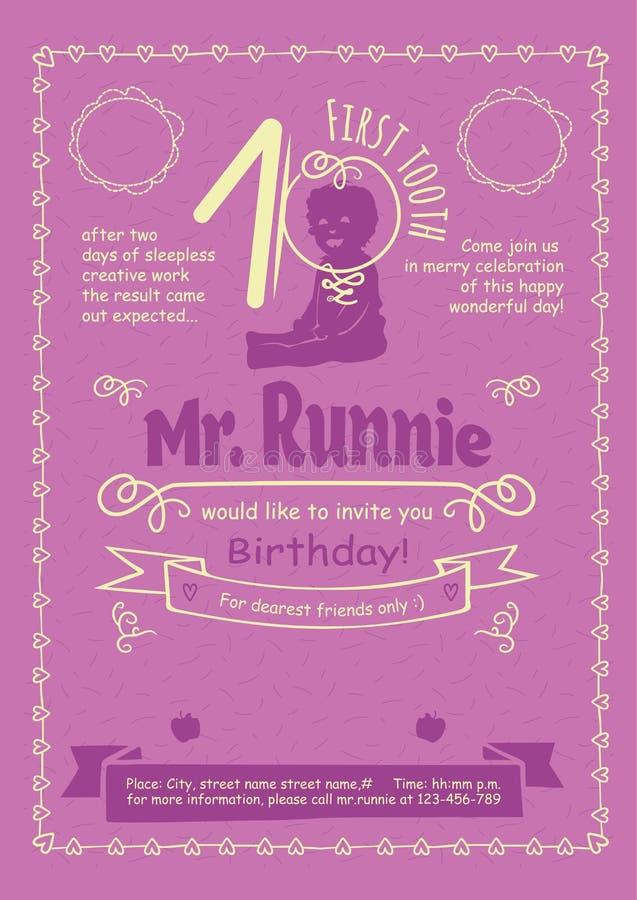 Рогулька приглашения дня рождения с нарисованными вручную каллиграфическими рамками, границами и свирлями бесплатная иллюстрация