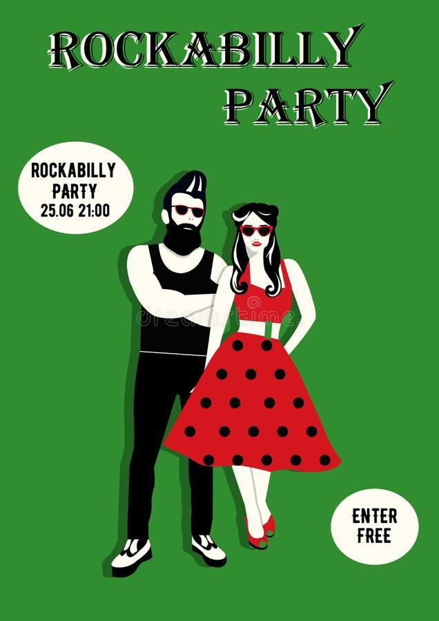 Рогулька приглашения с rockabilly парами Rockabilly плакат стоковые фотографии rf