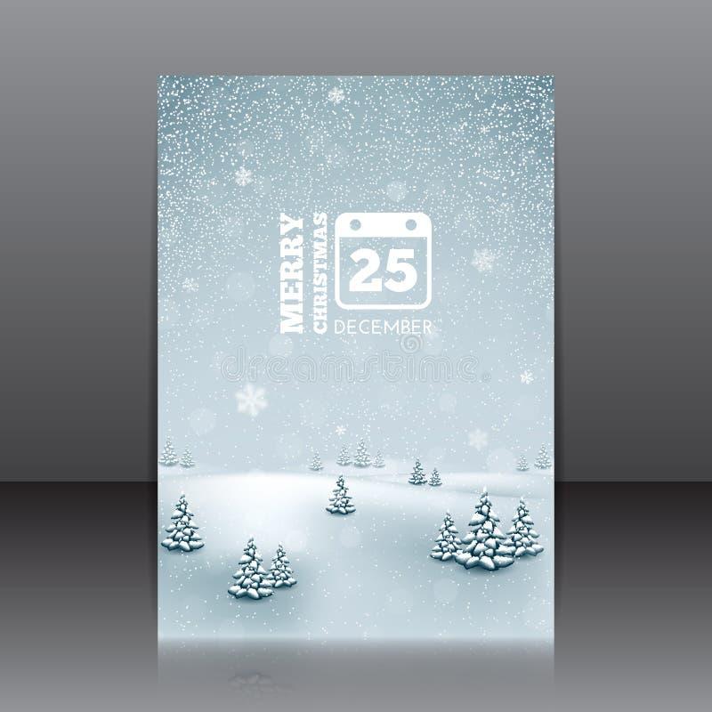 Рогулька рождества с ландшафтом и снежинками зимы бесплатная иллюстрация