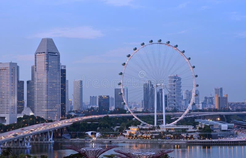Рогулька Сингапура в вечере стоковая фотография