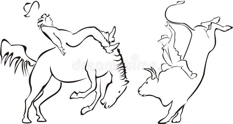 родео лошади быка бесплатная иллюстрация