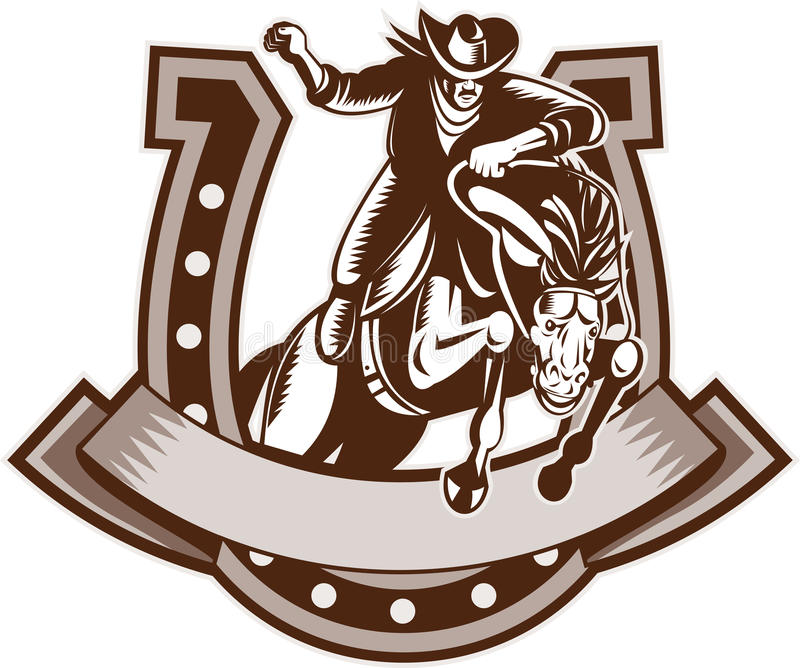 родео подковы лошади ковбоя бесплатная иллюстрация