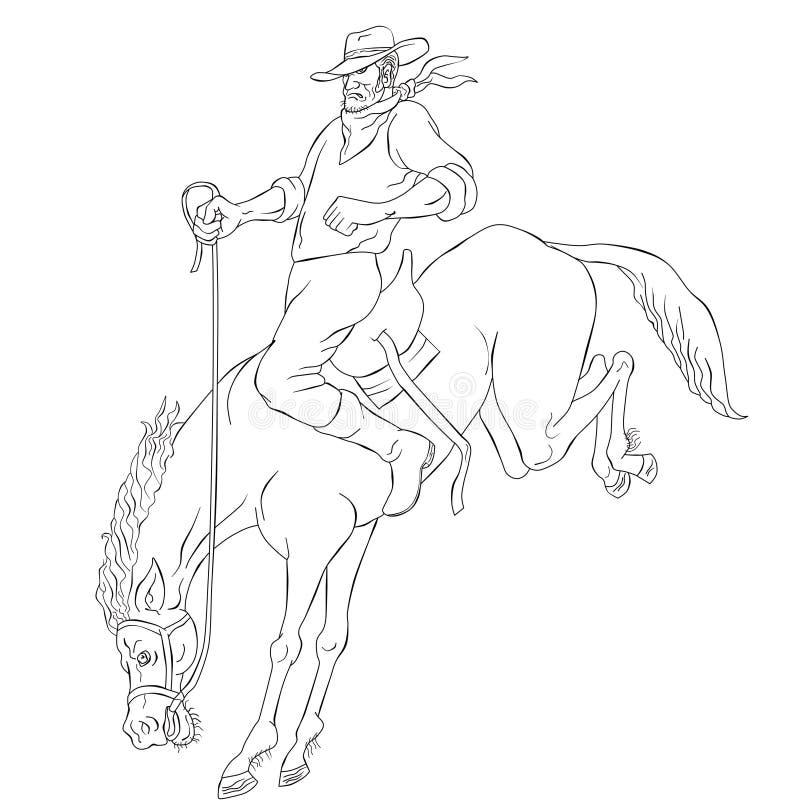 родео riding лошади ковбоя мустанга bucking бесплатная иллюстрация