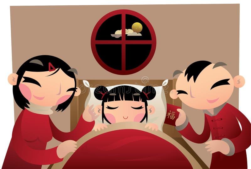 Родители дают их детям удачливые деньги в красном пакете и устанавливают под подушкой иллюстрация штока