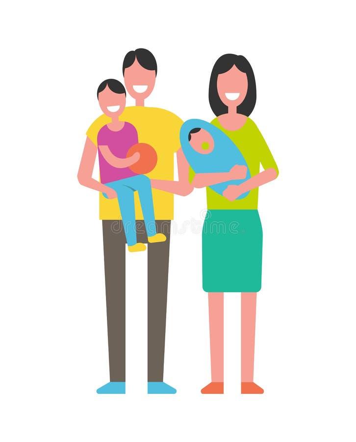 Родители и дети изолированные на белизне семья счастливая иллюстрация вектора