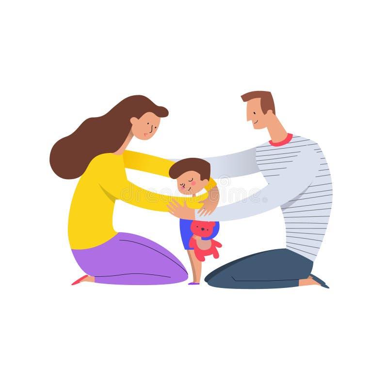 Родители обнимая сына Мама и папа обнимая их ребенка держа плюшевый медвежонка Концепция любящей семьи и счастливого воспитания бесплатная иллюстрация