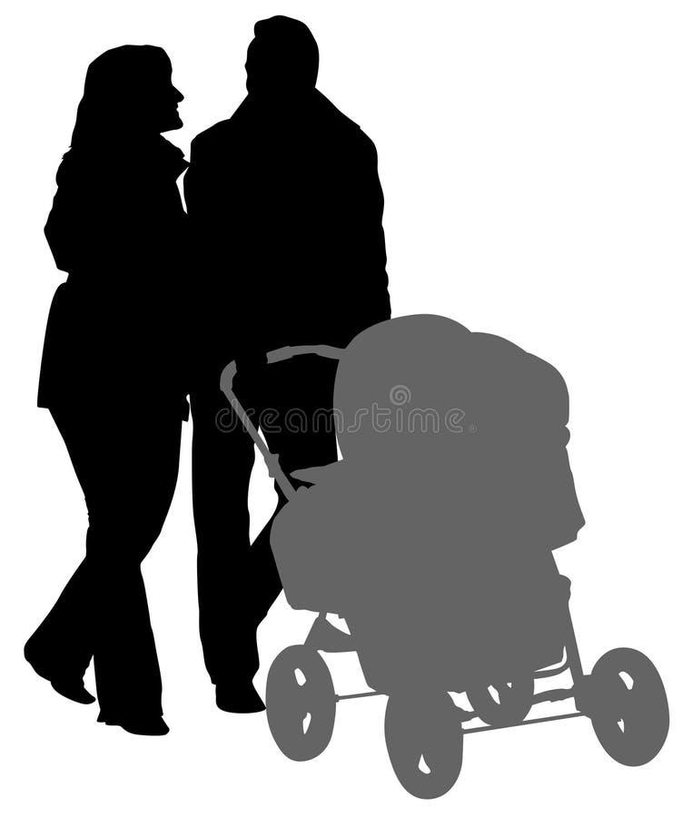 родители silhouette гулять иллюстрация вектора