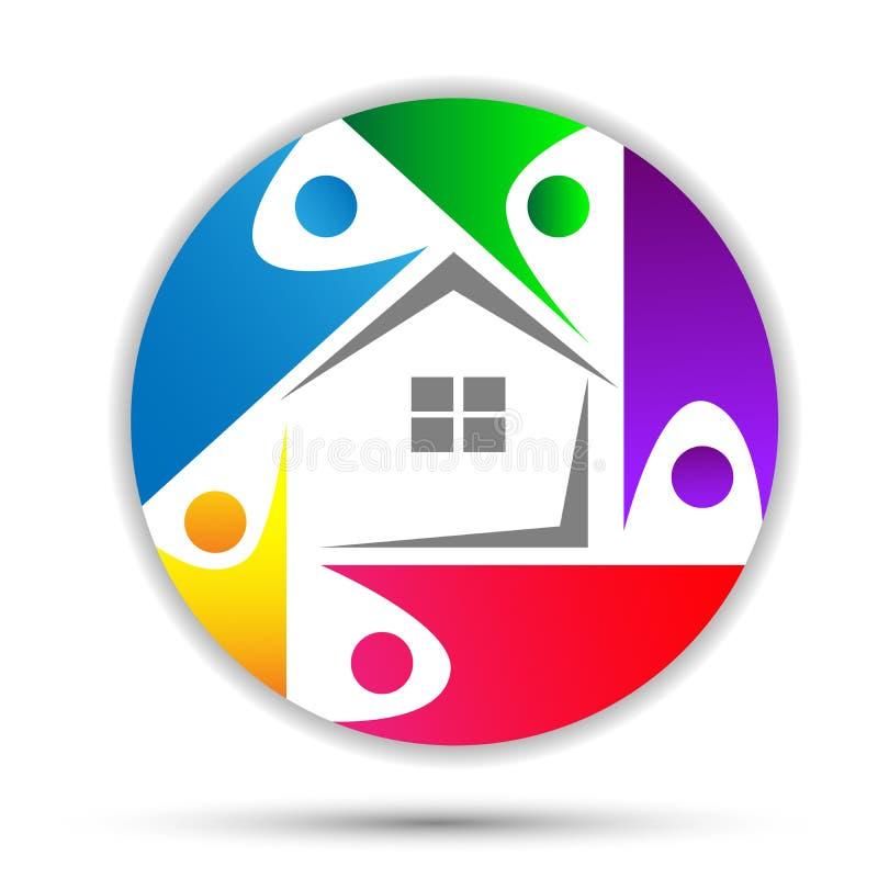 Родной дом, логотип заботы дома счастливый, логотип концепции соединения в круге иллюстрация вектора
