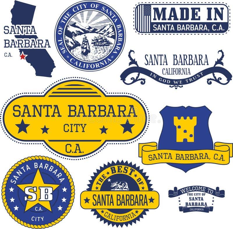 Родовые штемпеля и знаки города Санта-Барбара, CA иллюстрация вектора