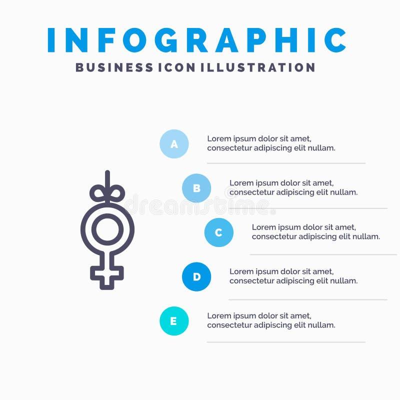 Род, символ, шаги шаблона 5 Infographics ленты голубые Линия шаблон вектора значка иллюстрация штока