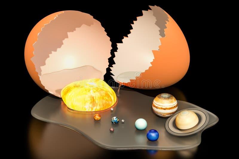 Рождение вселенной от концепции яичка, перевода 3D иллюстрация вектора