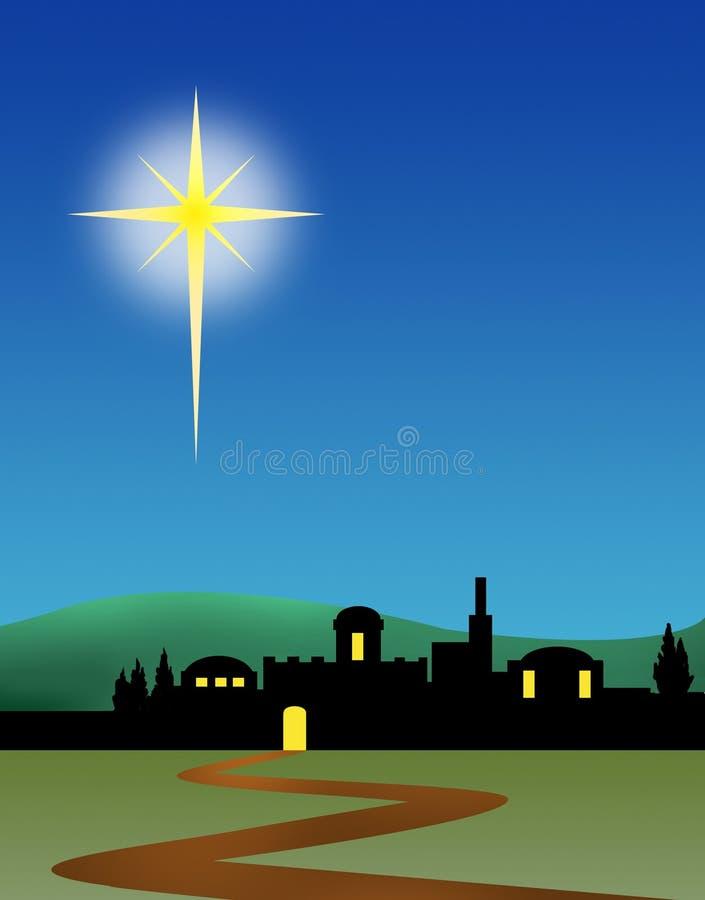 Рожденственская ночь Вифлеема иллюстрация штока