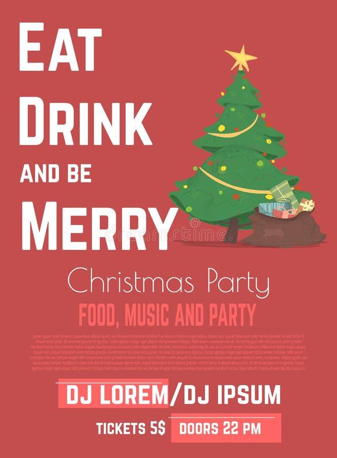 Рождественская еда и векторный рекламный баннер музыкальной партии иллюстрация штока