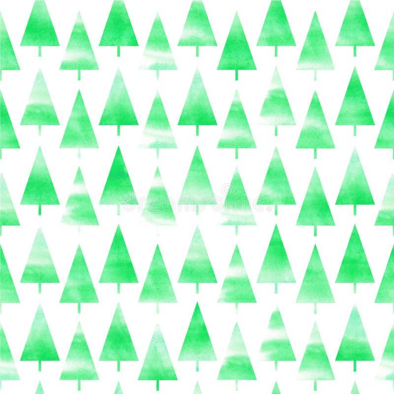 Рождественская елка акварели Предпосылка рождественской елки акварели картина безшовная стоковое фото rf