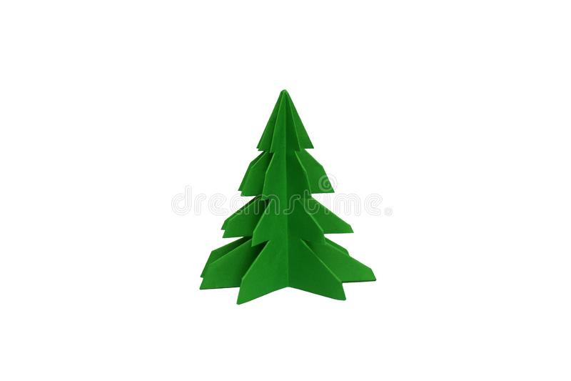 Рождественская елка бумаги Origami на изолированной предпосылке стоковое фото