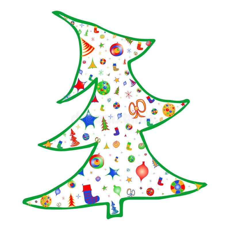 Рождественская елка вектора красочная украшает со светами, звездами, смычками, снежинками и носками иллюстрация вектора
