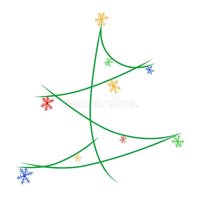 Рождественская елка вектора красочная украшает со светлыми снежинками бесплатная иллюстрация