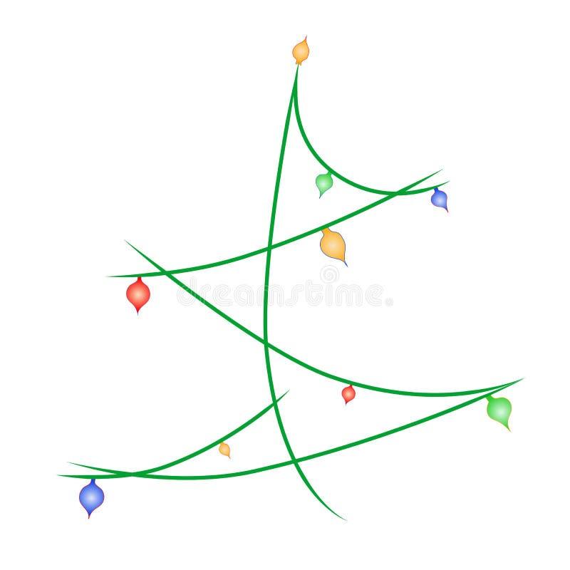 Рождественская елка вектора красочная украшает со светлым шариком иллюстрация вектора