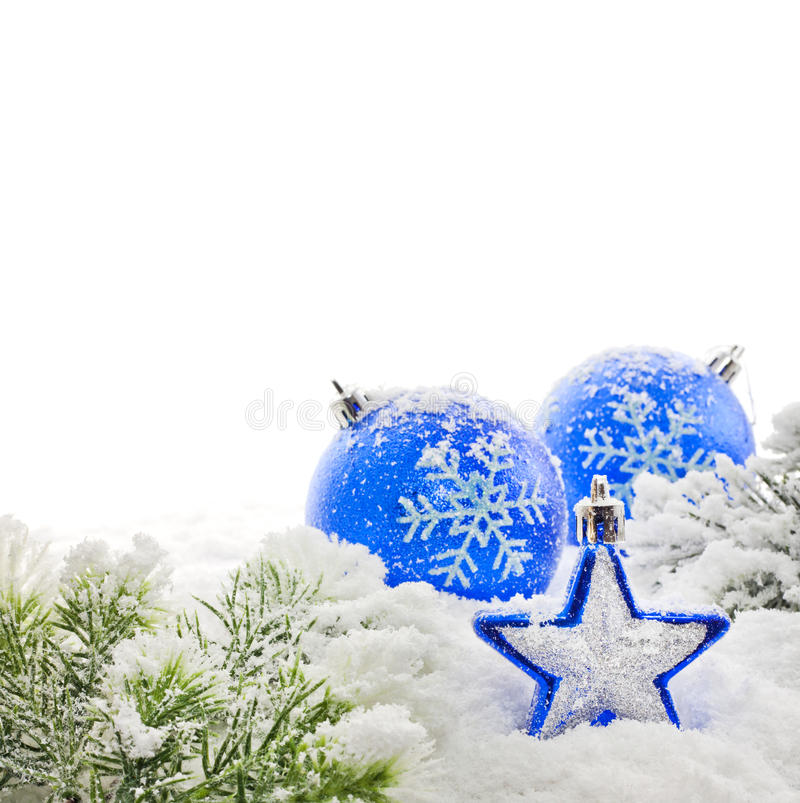 рождественская елка ветви baubles стоковая фотография