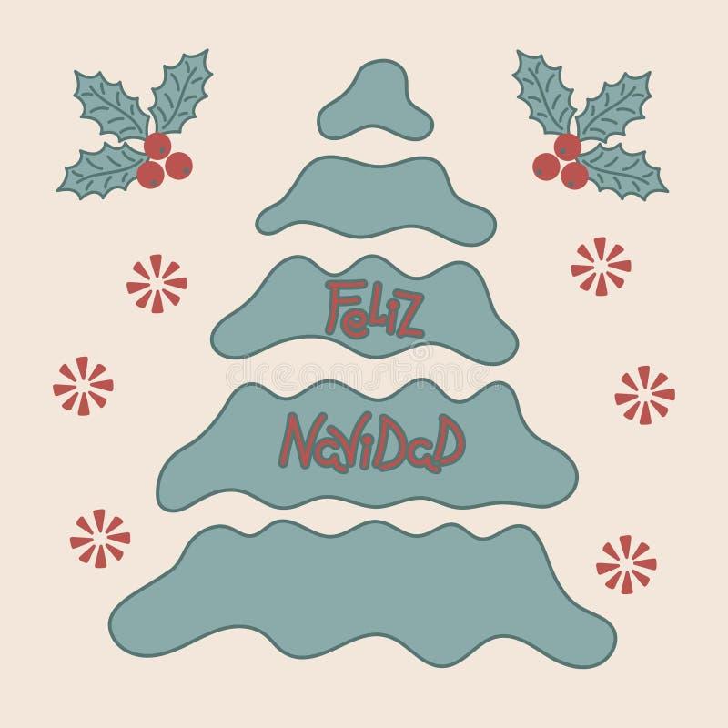 Рождественская елка, вечнозеленые листья падуба Фраза веселого рождества на испанском Нарисованная вручную надпись иллюстрация штока