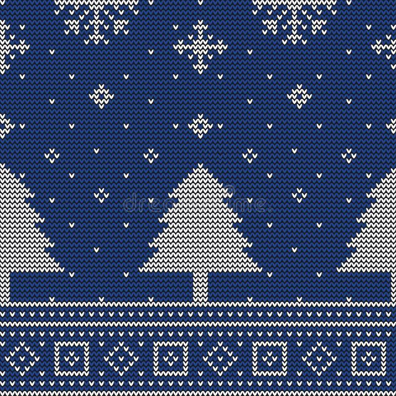 Рождественская елка вязать безшовную картину иллюстрация вектора