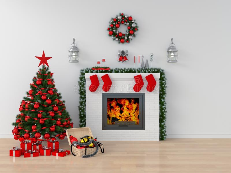 Рождественская елка в белой комнате для модель-макета, перевода 3D стоковая фотография rf