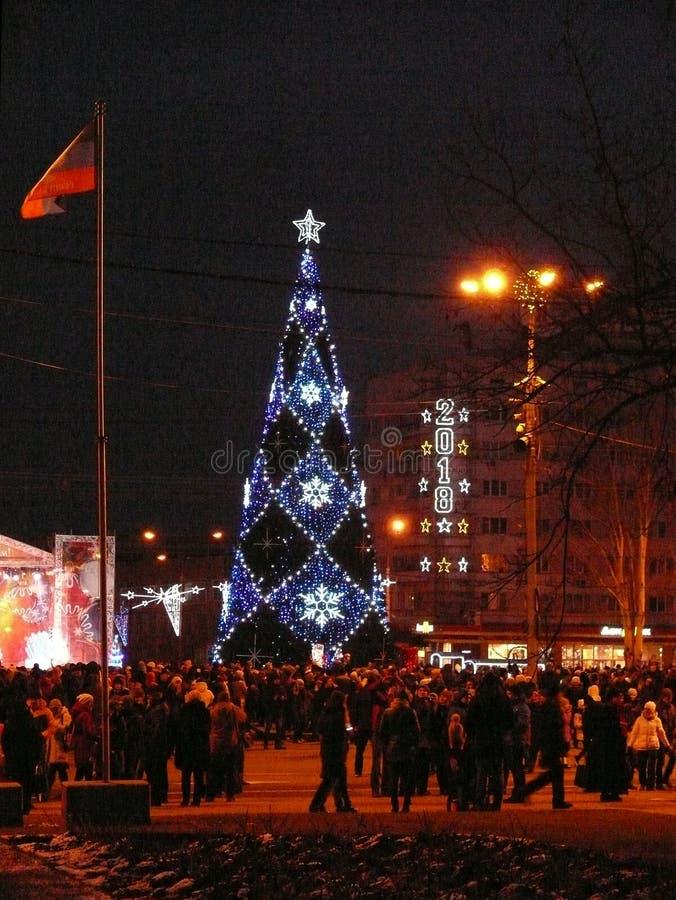 Рождественская елка в Донецке стоковое изображение