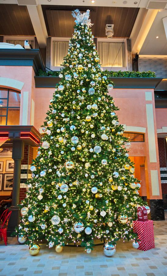Рождественская елка в лобби стоковые фото