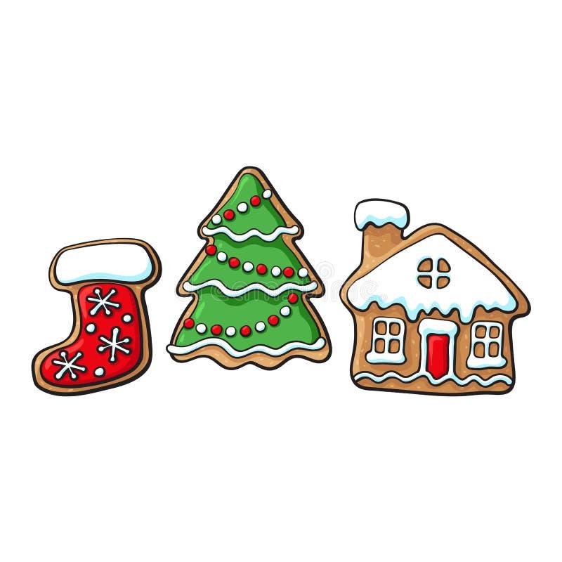 Рождественская елка, дом, печенья пряника ботинка иллюстрация штока
