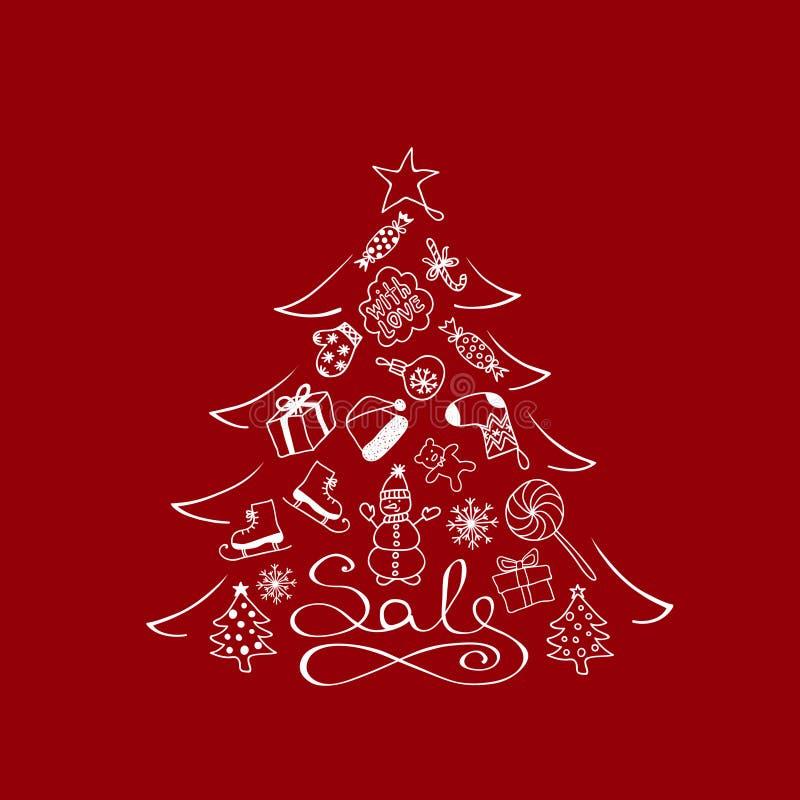 Рождественская елка знамени для продажи - с белыми элементами шаржа на красной предпосылке иллюстрация штока